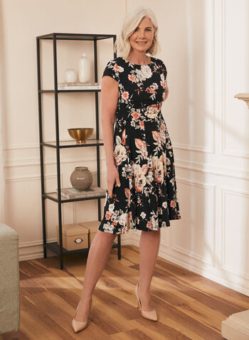 Cap Sleeve Fit & Flare Dress, Black,  spring summer 2021, jersey fabric, cap sleeves, fit & flare