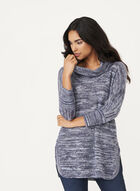 Cowl Neck Tunic Sweater, Blue, hi-res