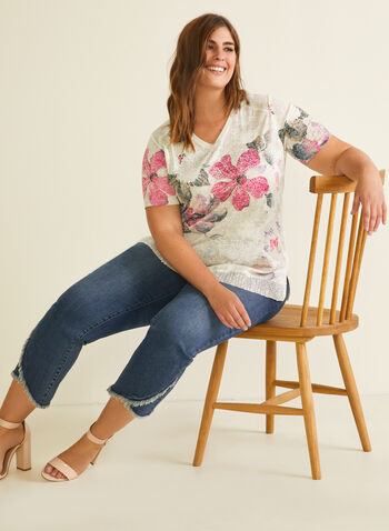 Floral Print Rhinestone Detail Tee, Red,  top, short sleeves, v-neck, rhinestone details, spring summer 2020