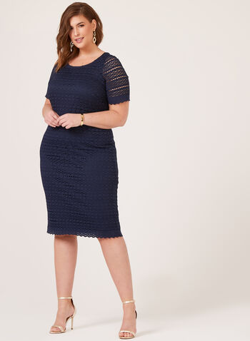Midi Lace Dress, Blue, hi-res