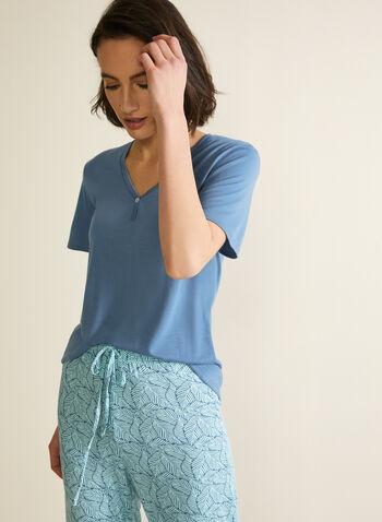 Ensemble pyjama à motif, Bleu,  automne hiver 2020, ensemble, pyjama