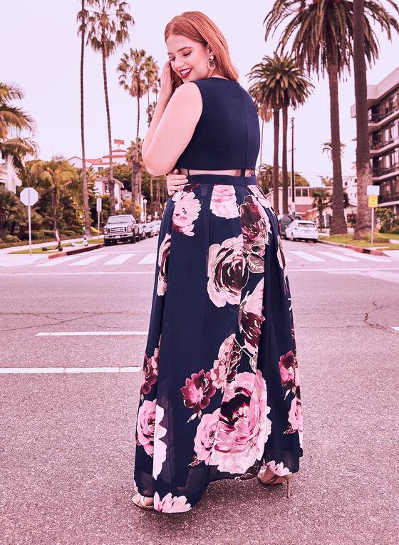 Robe avec jupe fleurie et maille filet, Bleu