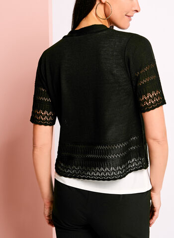 Knit Pointelle Detail Cover Up, Black, hi-res