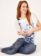 Modern Fit Slim Leg Embroidered Jeans, Blue, hi-res