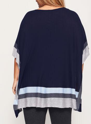 Lightweight Colour Block Poncho, Blue, hi-res