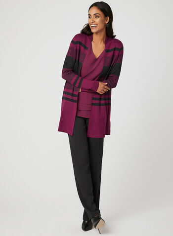 Stripe Print Open Front Cardigan, Red, hi-res