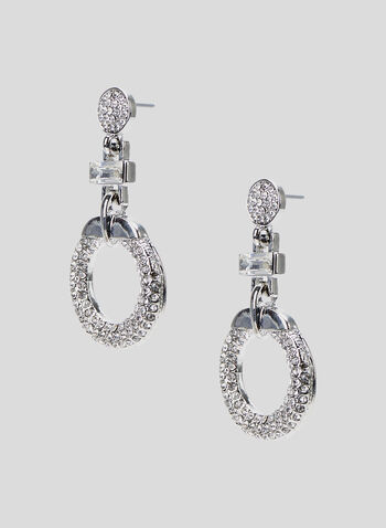 Crystal Door Knocker Earrings, Silver, hi-res