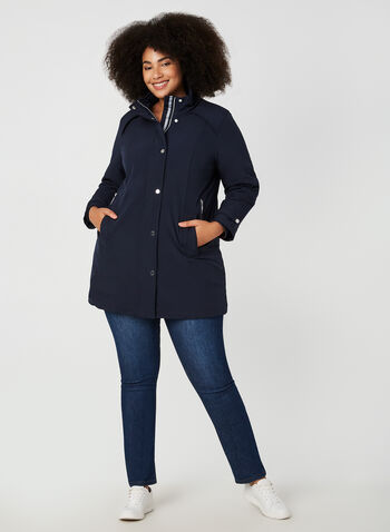 Long Hooded Coat, Blue, hi-res,  coat, transition coat, trench, long coat, quilt, zipper, detachable hood, hood, fall 2019, winter 2019