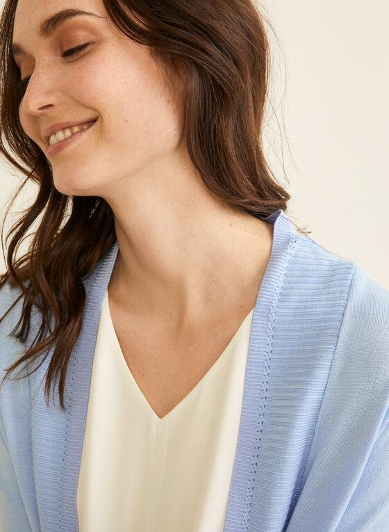Cardigan ouvert à détails en tricot côtelé, Bleu