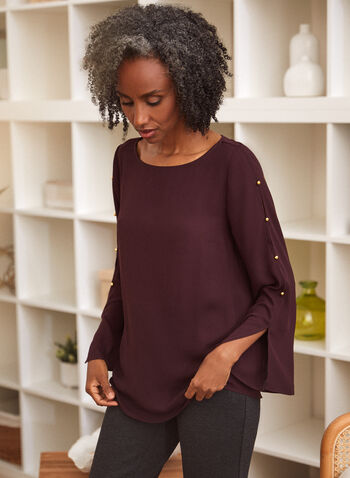 Button Detail Tunic, Purple,  Fall winter 2021, tops, tunics, blouses, long sleeves, scoop neck, buttons, slits,