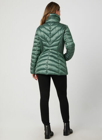 Bernardo - Weatherproof Coat EcoPlume™, Blue,  coat, compressible, Bluesign, eco-responsible, long sleeve, polyester, quilted, lightweight, ruching, fall 2019, winter 2019