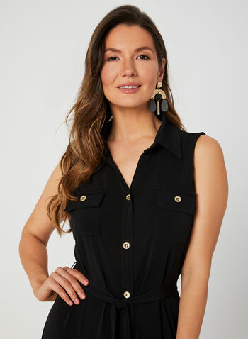 Sleeveless Shirt Dress, Black, hi-res