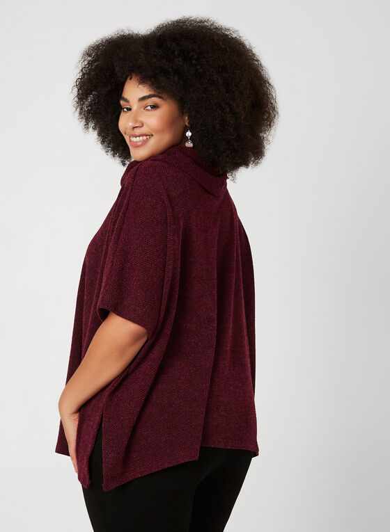 Haut en tricot style poncho, Rouge
