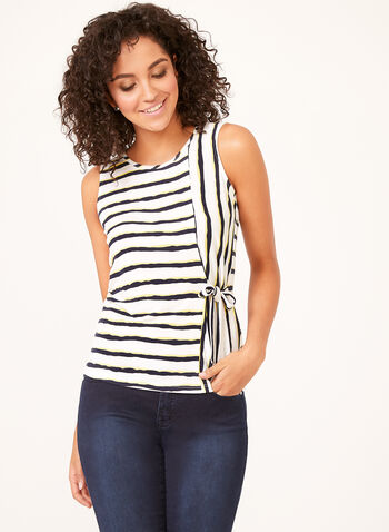 Sleeveless Bleeding Stripe Popover Top, White, hi-res
