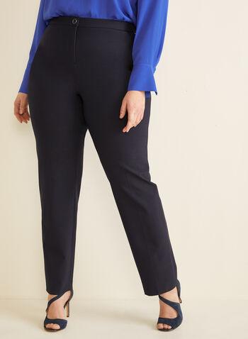 Pantalon coupe signature à jambe droite, Bleu,  pantalon, signature, jambe droite, pinces, printemps été 2020