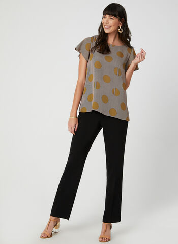 Printed Short Sleeve Top, Brown, hi-res