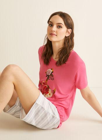 Claudel Lingerie - T-Shirt & Shorts Pyjama Set, Pink,  pyjamas, set, t-shirt, short sleeves, crew neck, stretchy,