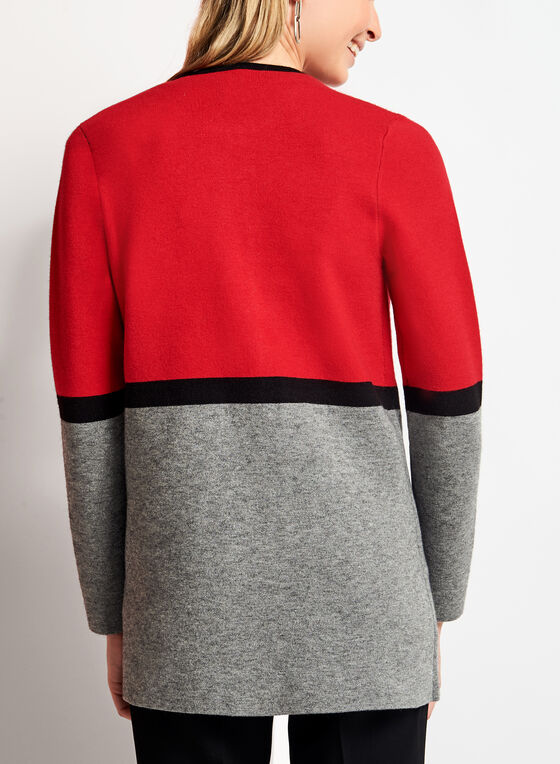 Colour Block Double Knit Cardigan, Red, hi-res