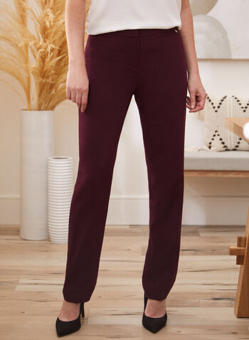 Modern Fit Straight Leg Pants, Purple,  pants, modern, straight, pleats, fall winter 2020