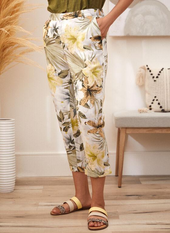 Charlie B - Floral Print Linen Pants, White