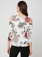 Floral Print Cold Shoulder Top, White, hi-res