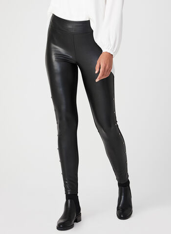 Studded Faux Leather Leggings, Black, hi-res