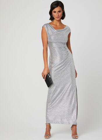 Metallic Drape Neck Dress, Silver, hi-res