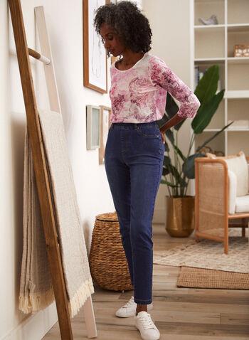 Slim Leg Pull On Jeans, Blue,  spring summer 2021, jeans, denim, pull on, slim leg, pockets, faux zipper, faux pockets, stretch