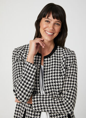 Houndstooth Jacket, Black,  fall winter 2019, houndstooth, jacket, front zipper,