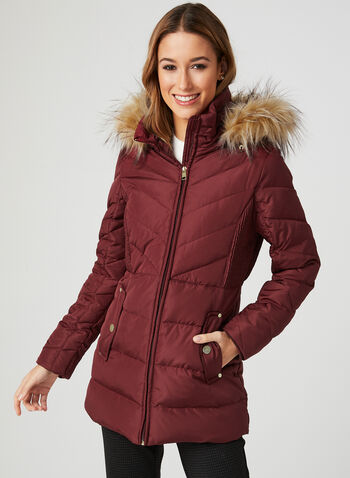 Down Quilted Coat, Red, hi-res