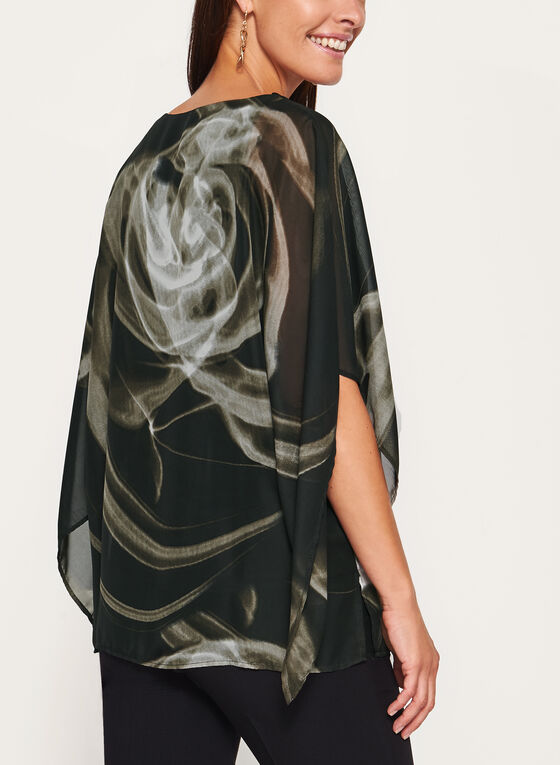 Abstract Print Poncho Blouse, Black, hi-res