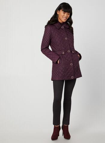 Anne Klein – Manteau matelassé à détails dorés , Violet,  automne hiver 2019, manteau, matelassé, détails dorés, capuchon amovible
