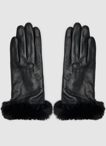 Gants en cuir et fausse fourrure, Noir, hi-res,  gants, cuir, fausse fourrure, automne hiver 2019