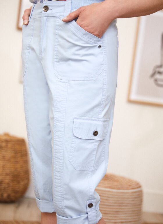 Capri cargo à poches, Bleu