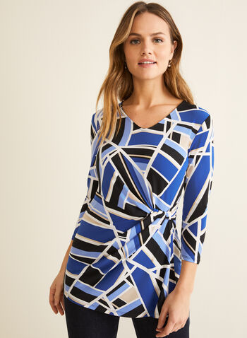 Jersey Geometric Print Top, Blue,  canada, 3/4 sleeves, top, geometric print, geometric print top, jersey, jersey top, v-neck, spring, summer, spring top, spring 2020, summer 2020