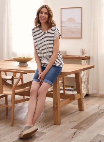 Pull-On Denim Shorts, Blue,  spring summer 2021, bottoms, jeans, pull on, metal rivets,