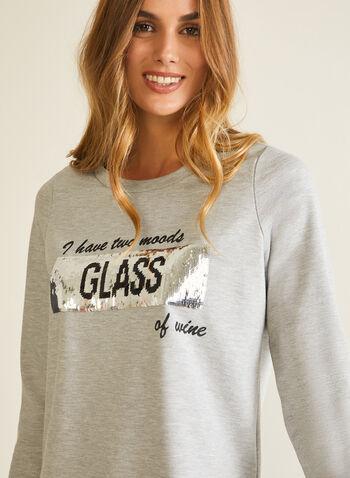 T-shirt imprimé à sequins réversibles, Gris,  automne hiver 2020, haut, imprimé, sequin, réversible, manches longues, encolure ronde, paillette