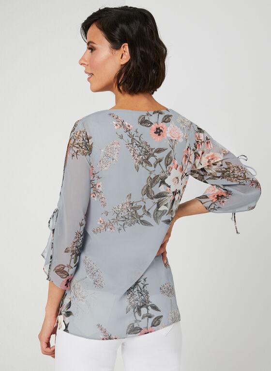 Floral Print Chiffon Top, Grey