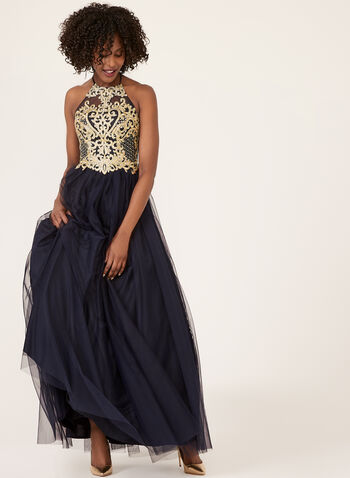 Halter Neck Mesh Ball Gown, Blue, hi-res