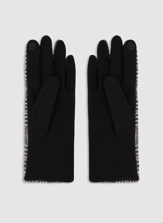 Plaid Print Knit Gloves, Black, hi-res