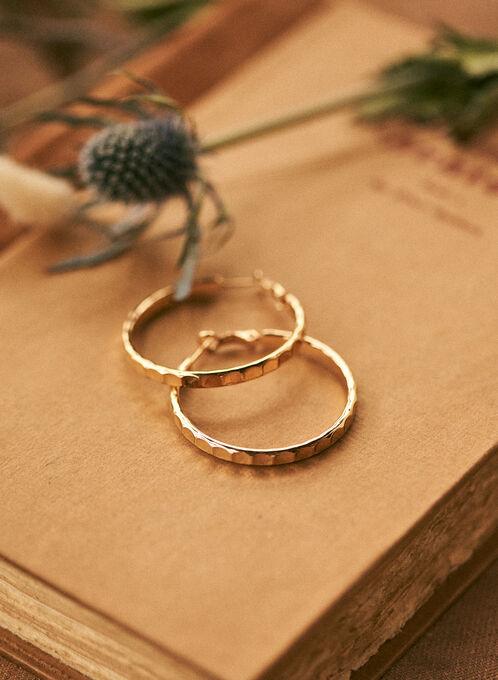 Hammered Hoop Earrings, Gold