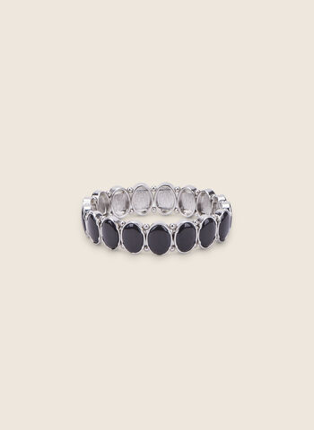 Bracelet extensible à pierres ovales, Noir,  bracelet, extensible, ovale, résine, printemps été 2020