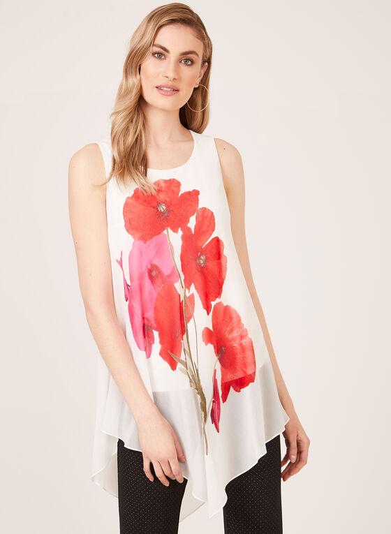 Sleeveless Asymmetric Floral Print Blouse, White, hi-res