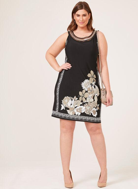 Robe courte à col cléopâtre et imprimé floral, Noir, hi-res