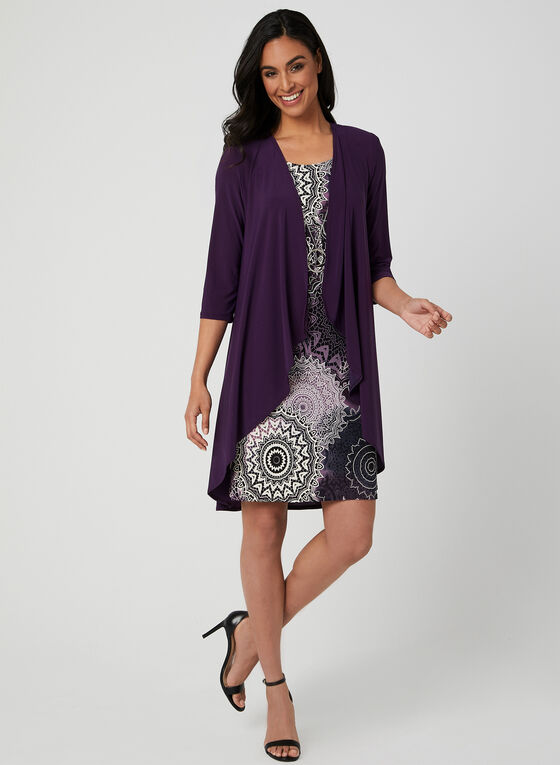 Printed Jersey Dress With Duster, Purple