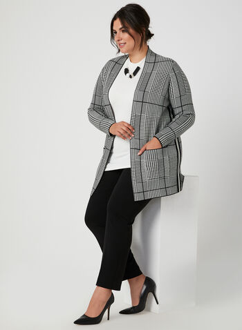 Houndstooth Open Front Cardigan, Black, hi-res,  long sleeves, open front, knit, fall 2019, winter 2019