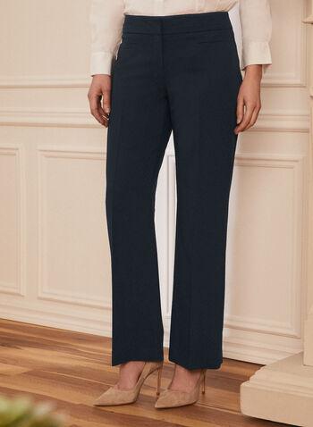 Louben - Pleated Straight Leg Pants, Blue,  pants, straight leg, pleats, hook & bar, zip fly, spring summer 2021