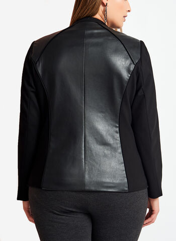 Ponte & Faux Leather Jacket, Black, hi-res