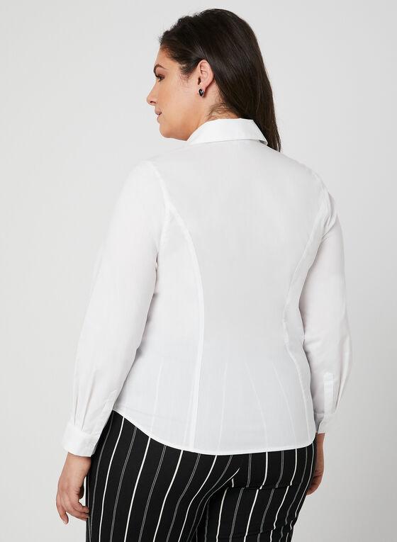 Chemisier à détails plissés, Blanc, hi-res