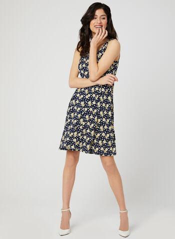 Floral Print Dress & Bolero, Yellow, hi-res,  sleeveless, fit & flare, jersey, spring 2019